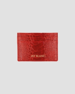 Red Cardholder made from ostrich leather