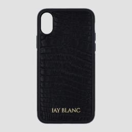 Black crocodile exotic leather iPhone x case