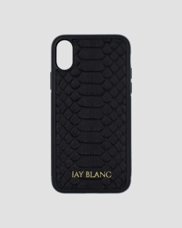 black python exotic leather iPhone x case jay blanc