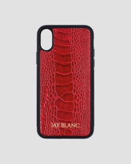 Red Ostrich exotic leather iPhone x case jay blanc