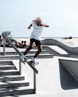 Chris Pierre Boardslide at Venice Skatepark for Jay Blanc