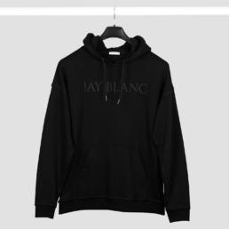 black oversized hoodie make money not friends print