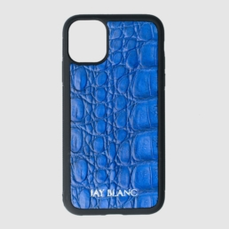 iPhone 11 pro case made out of blue crocodile leather