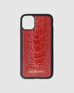 Iphone 11 Pro Case made out of red ostrich leather