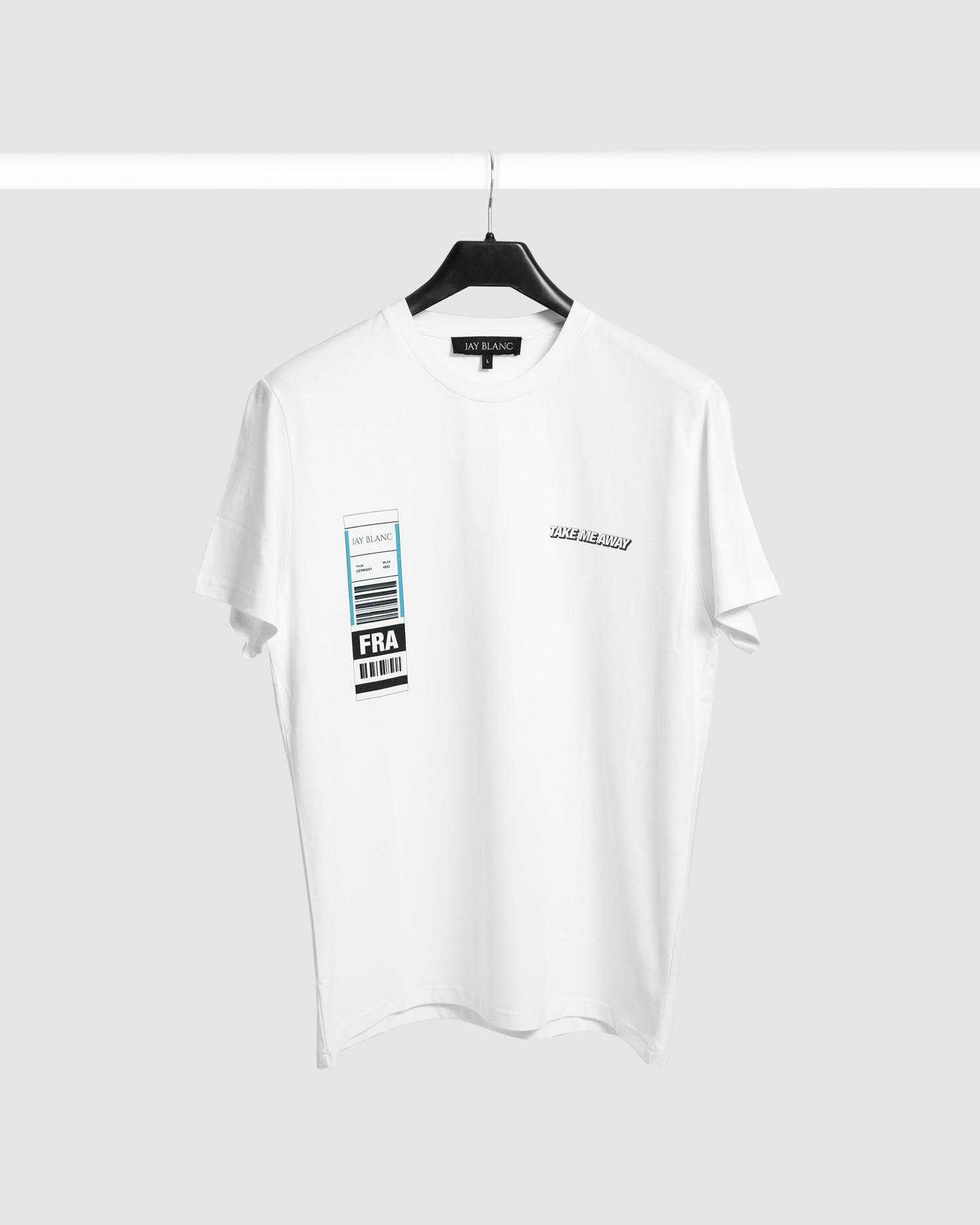 White T-Shirt with lugagge tag print and take me away quote