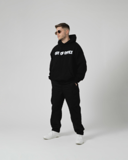 Out Of Office Hoodie Black Jay Blanc Boxy Fit